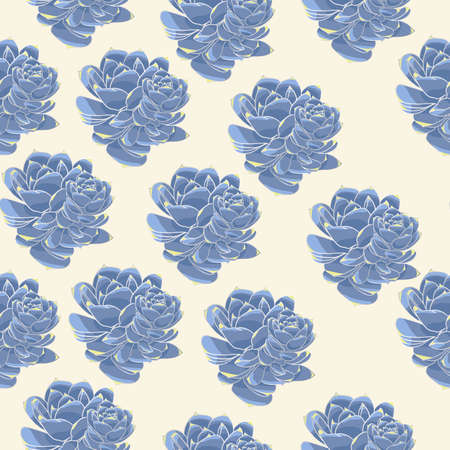 Vector silver gray succulents texture seamless pattern background