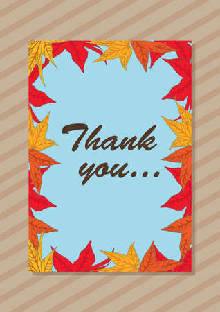 Thank you greeting card - vector illustration in hand drawn style autumn leaves yellow, orange and red colors. Illusztráció