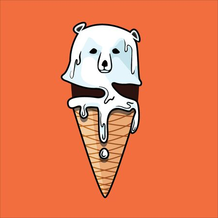 Global warming, Graphic illustration of a melting polar bear, like ice cream cone coating