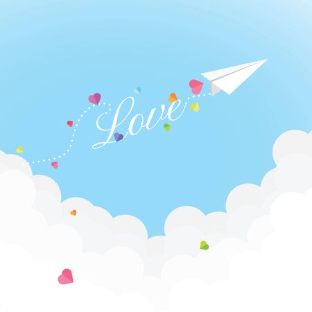 Origami paper plane send little paper hearts while flying dash love alphabet on the sky and above the cloud, Valentine's day card. Vector illustration