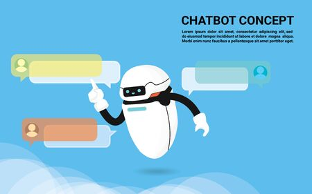 Chat Bot Robots tab speech bubble banner to answer users question, Chatter or Chatterbot support service concept flat Vector Illustration Ilustrace