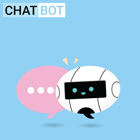 Chat Bot Robot talking with bubble banner to answer users question, Chatter or Chatterbot support service concept flat Vector Illustration