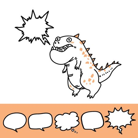 Baby print with roaring dinosaur and speech bubble set. Hand drawn graphic for typography poster, card, label, flyer, page, banner, baby wear, nursery. Scandinavian style. Black, and orange. Vector illustration Vettoriali