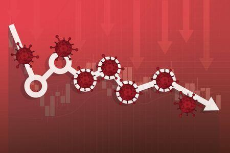 Die Aktienmärkte stürzen aufgrund der Angst vor dem neuartigen COVID-19-Virus, der weltweite Anlagepreis fällt oder bricht aufgrund des Ausbruchs des Coronavirus zusammen, der Aktienkurs an der Börse und das Diagramm fallen aufgrund der Auswirkungen des Viruspathogens ab