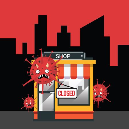 Shop closed or bankrupt. Empty storefront and Coronavirus hanging closed sign plate on front, store is not working. Virus quarantine or self-isolation. Covid-19 pandemic, healthcare concept. Vector illustration