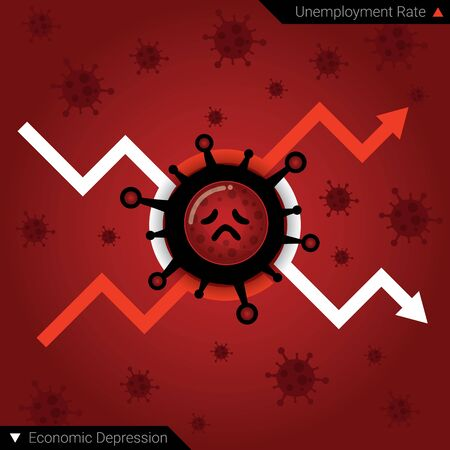Unemployment and economic depression due to epidemic or pandemic of Covid-19 Concept. Jobless. Chart of a sharp increase in unemployment and decrease in economic. Coronavirus disease. Flat vector illustration
