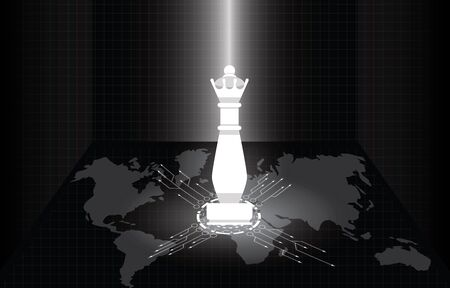 White queen chess figure with world map in the darken. Business leadership, strategy, world wide strategic step, trade war and tax crisis concepts. Black and white vector illustration