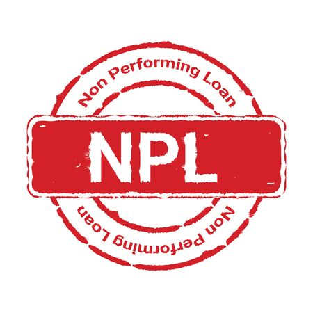 Grunge red NPL text (abbreviation of Non Performing Loan) round rubber seal stamp sign on white background. Vector illustration bankruptcy concept Иллюстрация
