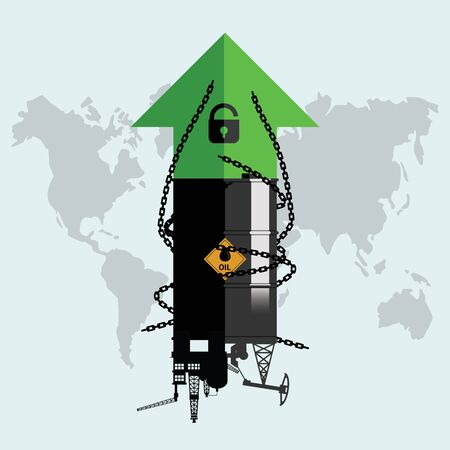 Gasoline, fuel, gas, petrol, oil stock value market demand price rise increase up because permitted unlocking. Design Rig, Winch, Oil Tank with unlock key, decline chains and green up arrow. World economic. Flat vector