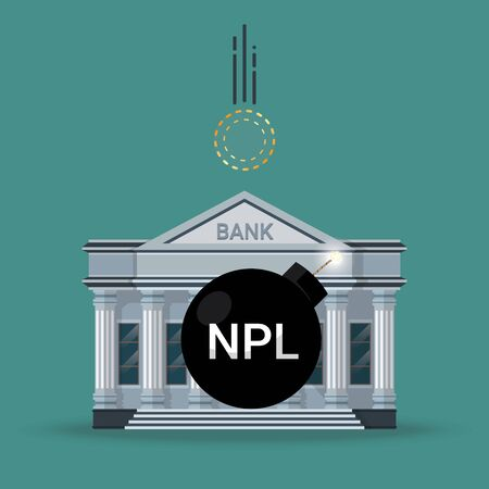 NPL text (abbreviation of Non Performing Loan) on the black bomb with a wick in front of bank building while the empty coin is falling. Vector illustration bankruptcy crisis concept