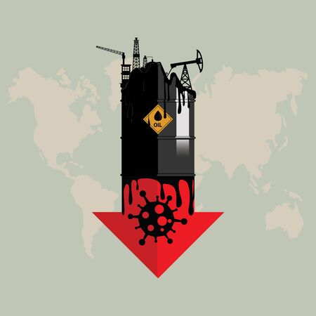 Oil crisis because outbreak of (pandemic) coronavirus concept. Design with Rig, Winch, Melting Oil Tank and red down arrow with COVID-19 showing a decline in oil prices. World economic recession. Vector illustration