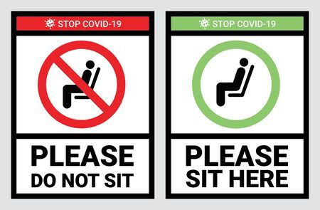 Please do not sit and sit here sign to prevent from Coronavirus or Covid-19 pandemic. Keep distance 6 feet or 2 meters physical distancing for chair, seat, shuttle bus, subway, railway, tram, train, canteen concept