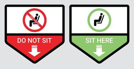 Bitte setzen Sie sich nicht hier hin und sitzen Sie nicht hier, um eine Coronavirus- oder Covid-19-Pandemie zu verhindern. Halten Sie einen Abstand von 6 Fuß oder 2 Metern für Stuhl, Sitz, Shuttlebus, U-Bahn, Bahn, Straßenbahn, Zug, Kantinenkonzept ein