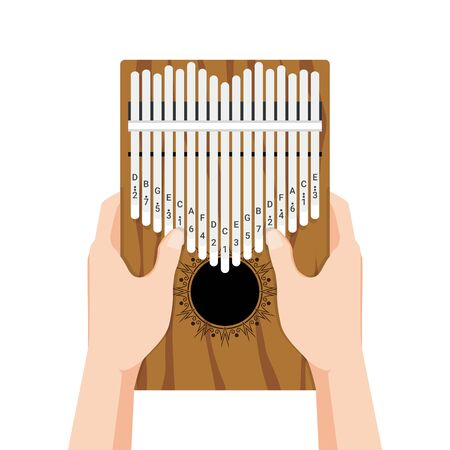 Kalimba a 17 key thumb Piano. Hands holding and play African musical instrument. Finger pocket portable piano. Vector cartoon flat style illustration isolated on white background Ilustração