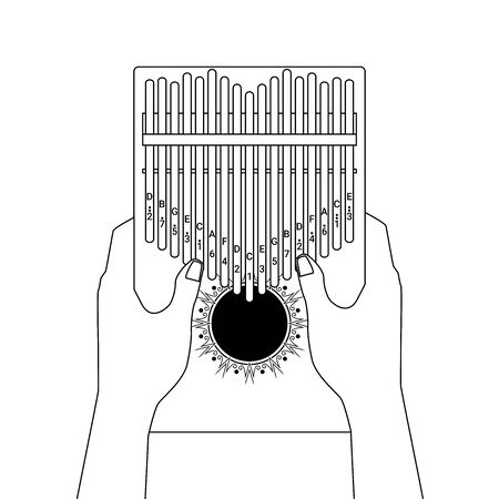 Kalimba a 17 key thumb Piano. Hands holding and play African musical instrument. Finger pocket portable piano. Vector cartoon outline style illustration isolated on white background