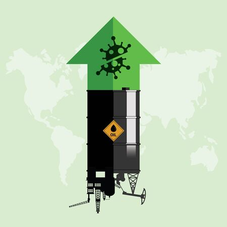 Oil stock price rebound and rise up from Covid-19 coronavirus be defeated. Oil market value move up from permitted unlocking. Design with rig, winch, oil tank and green arrow up. Vector illustration