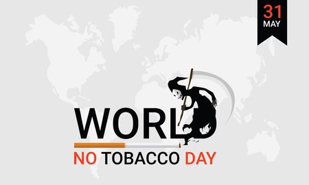 Vector illustration of background or poster or banner for May, 31 World No Tobacco Day. Stop smoking concept advertisement. Design by cigarette and the death sign scytheman holding a scythe