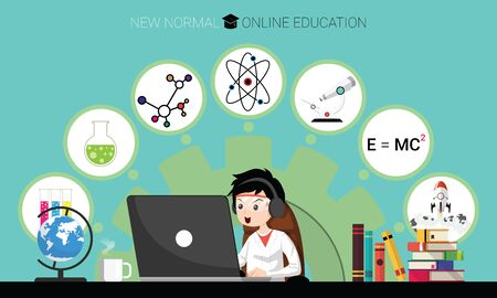 New normal concept and physical distancing. Boy using laptop for online education e-learning Science at home for prevention from coronavirus outbreak. Vector illustration of new behavior after Covid-19 pandemic Illustration