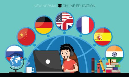 New normal concept and physical distancing. Boy using laptop for online education e-learning Languages at home for prevention from coronavirus outbreak. Vector illustration of new behavior after Covid-19 pandemic