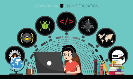 New normal concept and physical distancing. Boy using laptop for online education e-learning Coding at home for prevention from coronavirus outbreak. Vector illustration of new behavior after Covid-19 pandemic