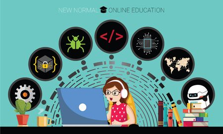 New normal concept and physical distancing. Girl using laptop for online education e-learning Coding at home for prevention from coronavirus outbreak. Vector illustration of new behavior after Covid-19 pandemic