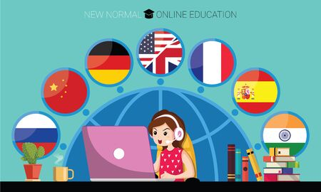 New normal concept and physical distancing. Girl using laptop for online education e-learning Languages at home for prevention from coronavirus outbreak. Vector illustration of new behavior after Covid-19 pandemic Illustration