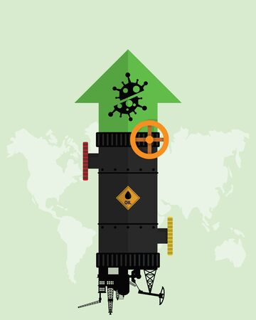 Oil stock price rebound and rise up from Covid-19 coronavirus be defeated. Oil market value move up from permitted unlocking. Design with Rig, Winch, Oil pipeline and green arrow up. Vector illustration