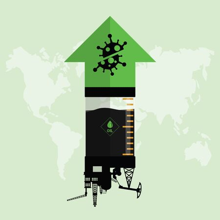 Oil stock price rebound and rise up from Covid-19 coronavirus be defeated. Oil market value move up from permitted unlocking. Design with Rig, Winch, Oil pump and green arrow up. Vector illustration Illustration