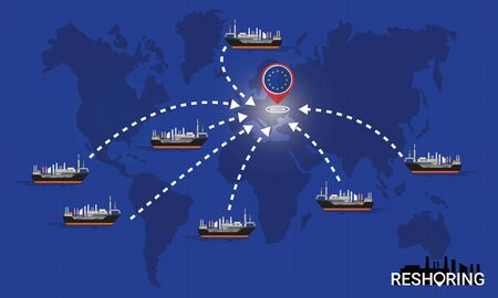 Reshoring concept. Factories companies return to EU. Self-sufficiency. Automated supply chain. Avoid production chain disruption. Design by freighter carry factory to moving on world map. Vector illustration