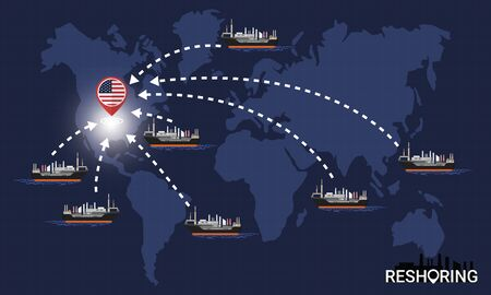 Reshoring concept. Factories companies return to USA. Self-sufficiency. Automated supply chain. Avoid production chain disruption. Design by freighter carry factory to moving on world map. Vector illustration
