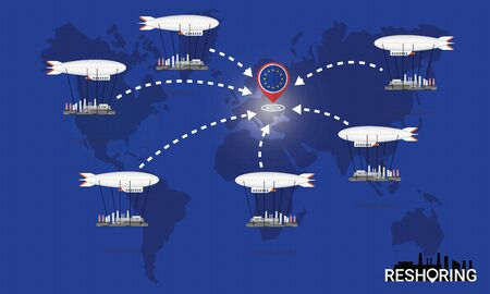 Reshoring concept. Factories companies return to EU. Self-sufficiency. Automated supply chain. Avoid production chain disruption. Design by zeppelin carry factory to moving on world map. Vector illustration Ilustração
