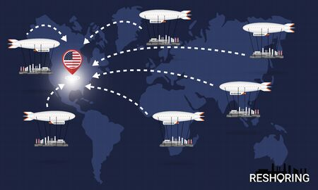 Reshoring concept. Factories companies return to USA. Self-sufficiency. Automated supply chain. Avoid production chain disruption. Design by zeppelin carry factory to moving on world map. Vector illustration Ilustração