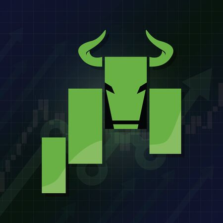Bullish symbols on stock market vector illustration. Fund, forex or commodity price charts, on abstract background. Symbol of the green bull candle stick graph chart, growing investment trading. Up trend concept