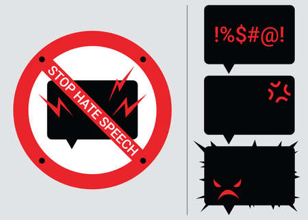 Set 4 prohibition signs of stop hate speech. Protest symbols. Isolated icons of stop social negative word concept. Vector illustration for warning issue, announcement and social media content