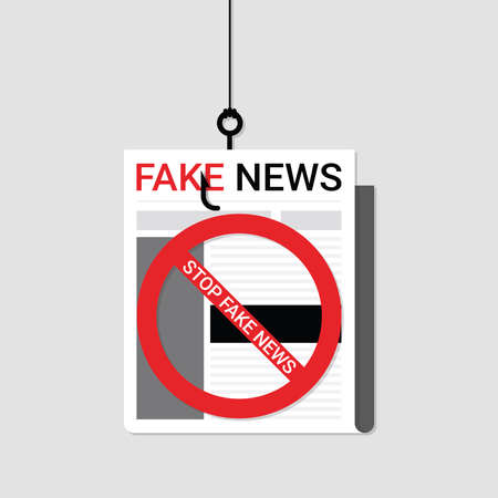 Flat design of newspaper, Fake News headline hanging on hook with stop sign. Vector of breaking with news communication and social concept. Concepts of false information, misleading, manipulate