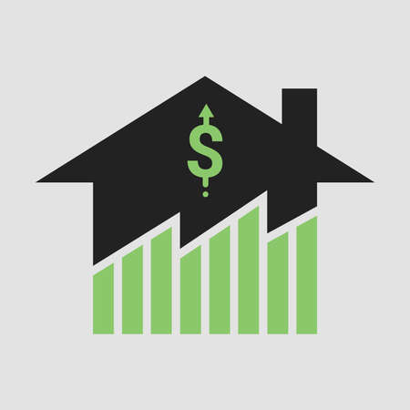 Symbol of growth in real estate business and properties market price exuberant. Design by financial chart of value rising up with home and pricing up sign. Flat Vector illustration icon  イラスト・ベクター素材