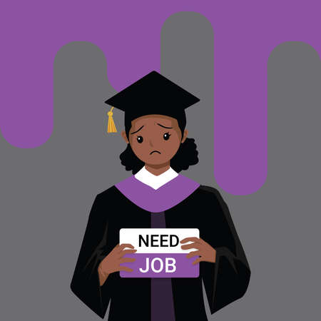 African-American Woman wearing graduation gown graduated from university while jobless and economic depression due Covid-19 pandemic concept. Unemployment problems and labor market crisis. Vector