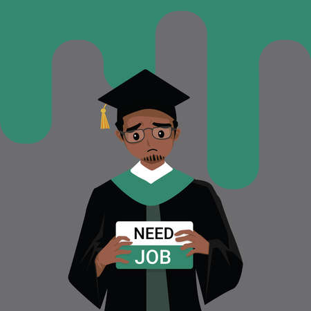 African-American Man wearing graduation gown graduated from university while jobless and economic depression due Covid-19 pandemic concept. Unemployment problems and labor market crisis. Vector Vector Illustration