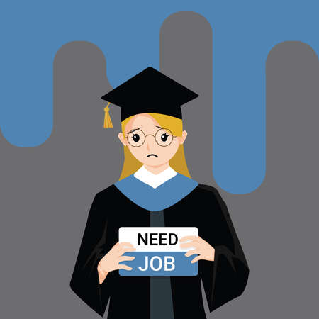 Woman wearing graduation gown graduated from university while jobless and economic depression due Covid-19 pandemic concept. Unemployment problems and labor market crisis. Vector illustration