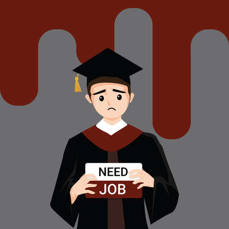 Man wearing graduation gown graduated from university while jobless and economic depression due Covid-19 pandemic concept. Unemployment problems and labor market crisis. Vector illustration Vector Illustration