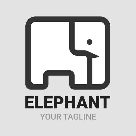 Elephant square shape, icon, symbol or emblem template. Abstract linear style design vector. Animal concept. Black and white version isolated on gray background