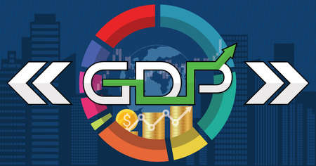Global gross domestic product growth, world investment price rising up or increase during the economic rebound. GDP economy graph chart financial analysis moving up concept. Vector illustration Illustration