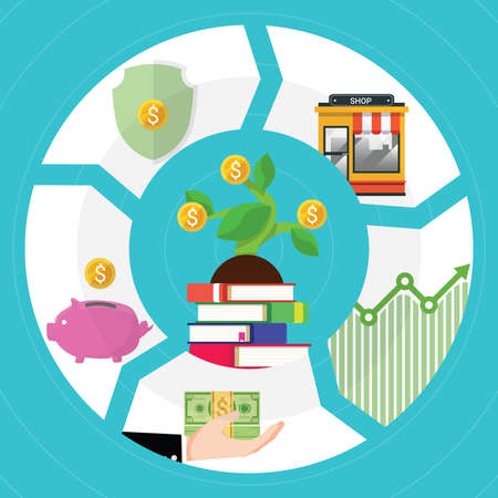 Financial literacy course concept. design by the books for wealth growth by knowledge of cash reserves, savings money, protect fund, invest in business and stock market investment. Vector illustration Vectores