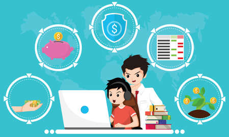 Financial literacy course for kid concept. Design by Boy use laptop and consult his father for learning of cash reserves, savings money, protect fund, accounting and wealth growth. Vector illustration