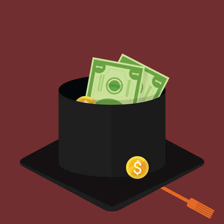 Beggar university graduated student begging with mortar cap or graduation hat. Consequences of jobless and economic depression due Covid-19 pandemic concept. Unemployment and labor market crisis. Vector illustration