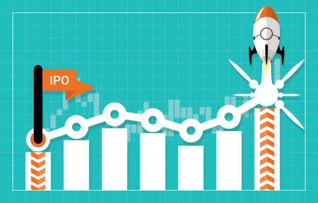 IPO or Initial Public Offering corporate stock market, company growth concept. Design by start flag, financial charts elements and rocket flying. Vector illustration of startup investment strategy