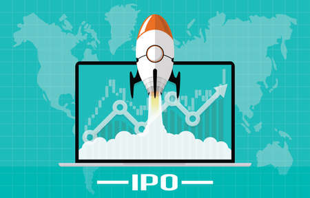 IPO or Initial Public Offering corporate stock market, company growth concept. Design by financial charts elements and rocket flying on laptop. Vector illustration of startup investment strategy style