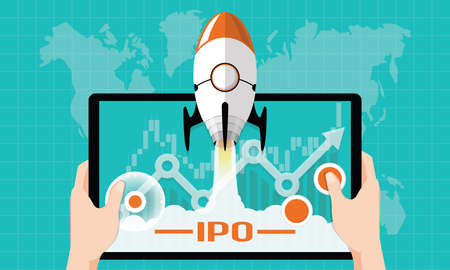 IPO or Initial Public Offering corporate stock market, company growth concept. Design by financial charts elements and rocket flying on gaming tablet. Vector illustration of startup investment strategy style