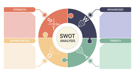 SWOT diagram with 4 rectangular elements. Comparison strengths, weaknesses, opportunities and threats of company or personal. Flat infographic design template. Vector illustration strategic business planning