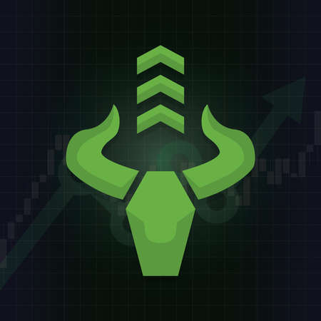 Bullish symbols on stock market vector. Fund, forex or commodity price charts, on abstract background. Symbol of the green bull with candle stick graph chart, growing investment trading. Up trend concept